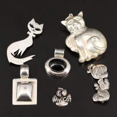 Sterling Brooches and Pendant Including Puff Feline Pendant