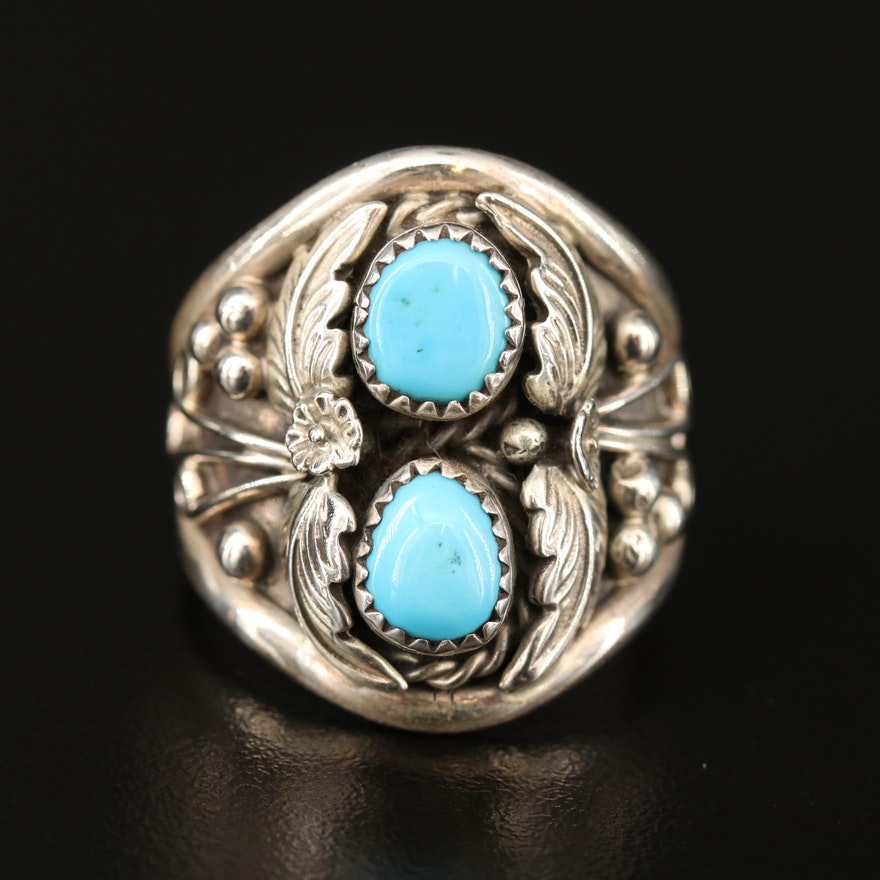 Southwestern Sterling Silver Turquoise Ring with Foliate Appliqué