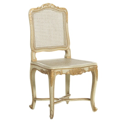 Louis XV Style Caned Side Chair in Antique Oyster Finish, Mid-20th C.
