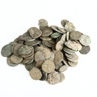 Assortment of Uncleaned and Circulated Ancient Roman Bronze Coins