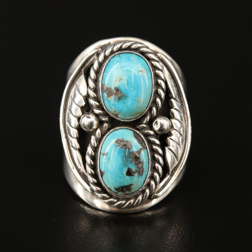 Southwestern Sterling Silver Turquoise Ring with Stamp Work and Feather Designs