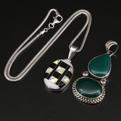 Mexican 950 Silver Inlay Pendant Necklace and Sterling Silver Pendant
