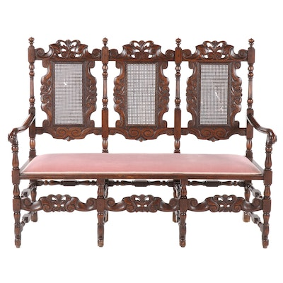 William and Mary Style Carved Oak Triple Chair-Back Settee, Early 20th Century