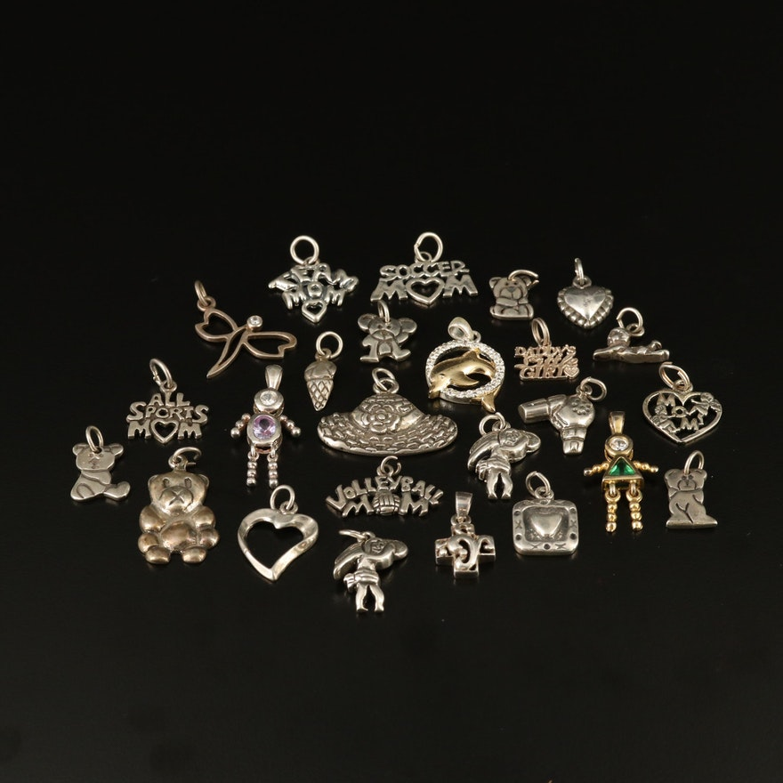 Assortment of Sterling Silver Theme Charms