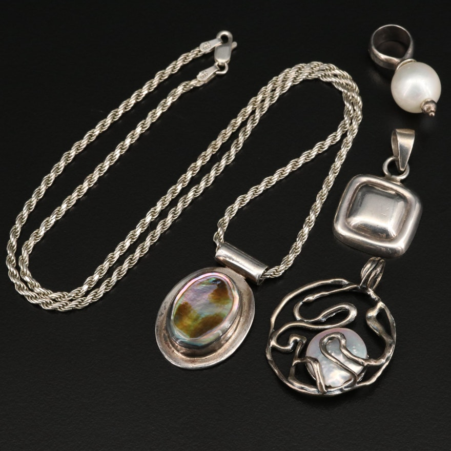 Sterling Pendants and Rope Link Chain Including Pearl and Abalone
