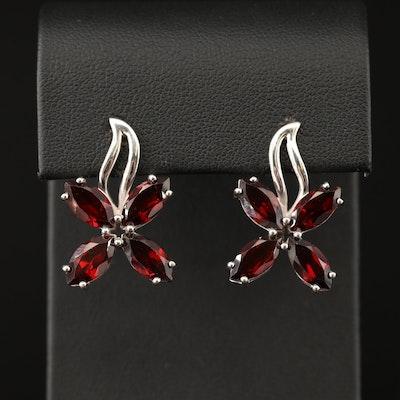 Sterling Silver Garnet Quatrefoil Earrings