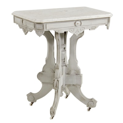 Victorian Painted and Marble Top Side Table, Late 19th Century