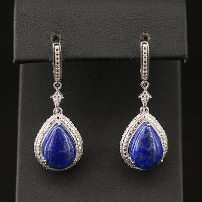 Sterling Silver Lapis Lazuli Teardrop Dangle Earrings