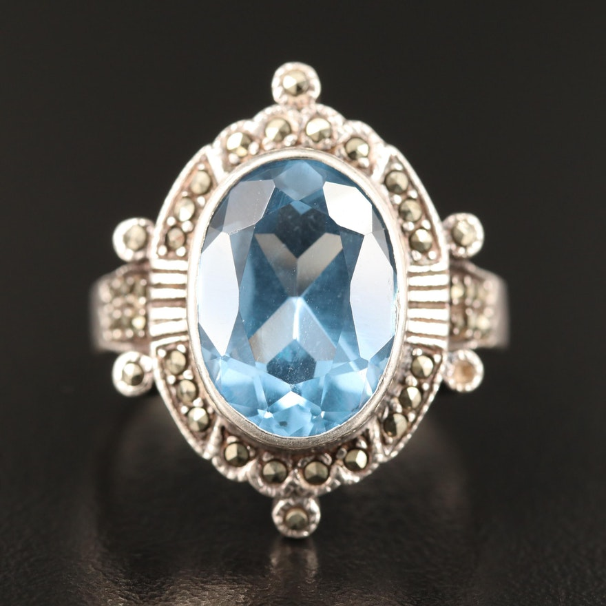 Sterling Spinel and Marcasite Ring