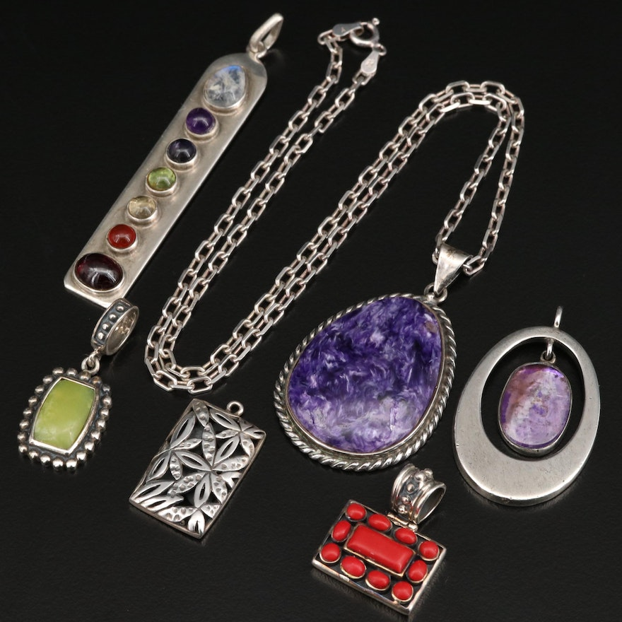 Sterling Pendants and Necklace with Charoite, Rainbow Moonstone and Amethyst