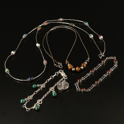 Sterling Necklaces and Bracelets with Enamel, Malachite and Tiger's Eye
