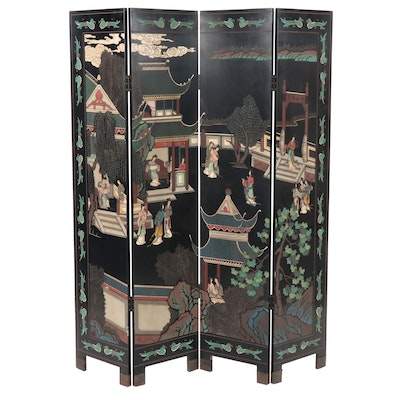 Chinese Painted Four-Panel Wood Room Divider, Mid to Late 20th Century
