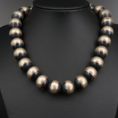 Sterling Silver Two Tone Beaded Necklace