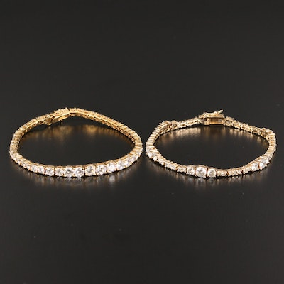 Pair of Sterling Silver Cubic Zirconia Tennis Bracelets