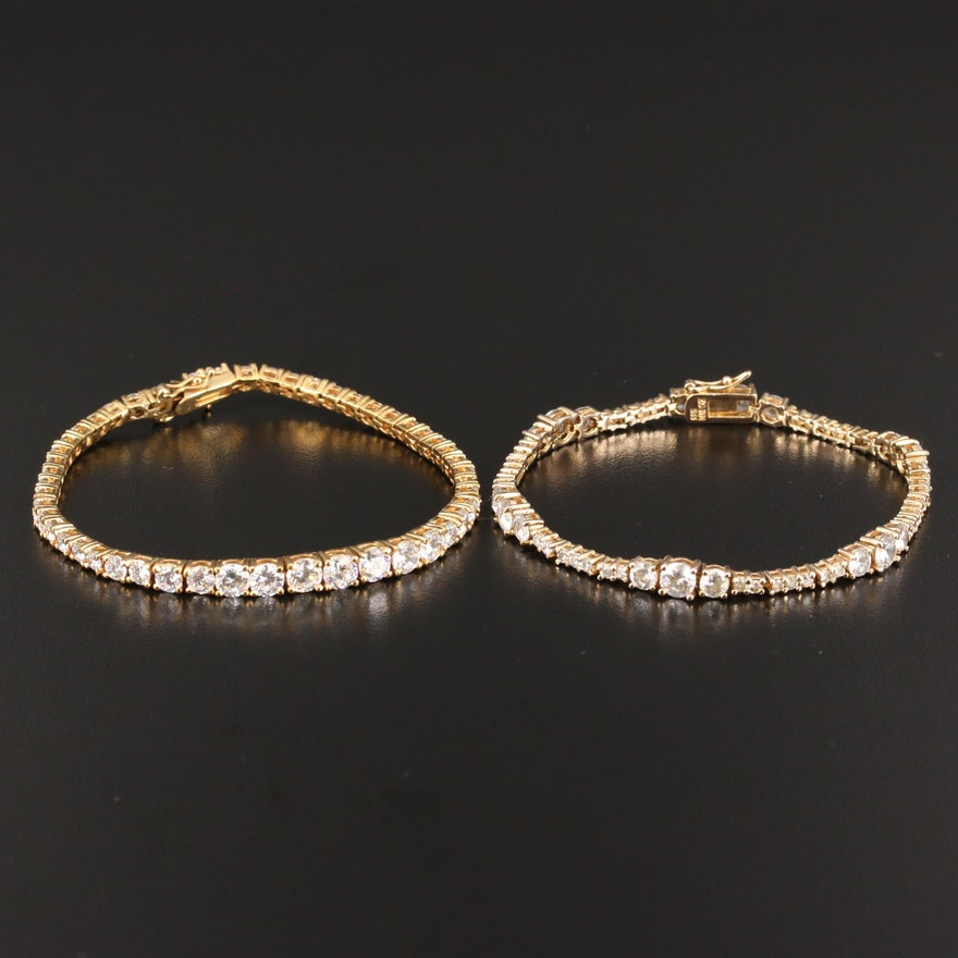 Pair of Sterling Silver Cubic Zirconia Tennis Bracelets