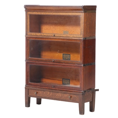 The Globe-Wernicke Co. Oak Three-Stack Barrister's Bookcase with Drawer