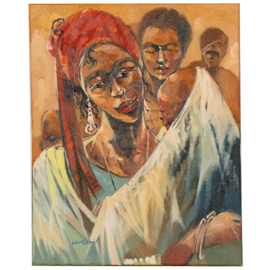 "Said Oladejo-lawal Oil Painting ""Mother's Grip"""
