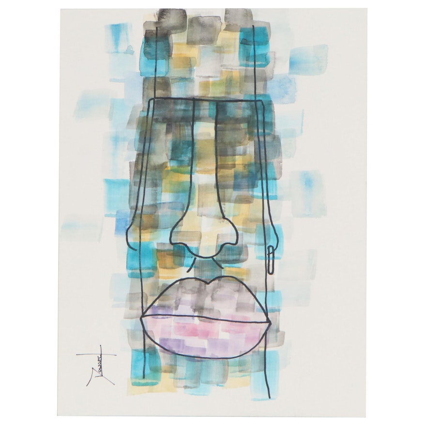 Abstract Figural Watercolor Painting, 21st Century