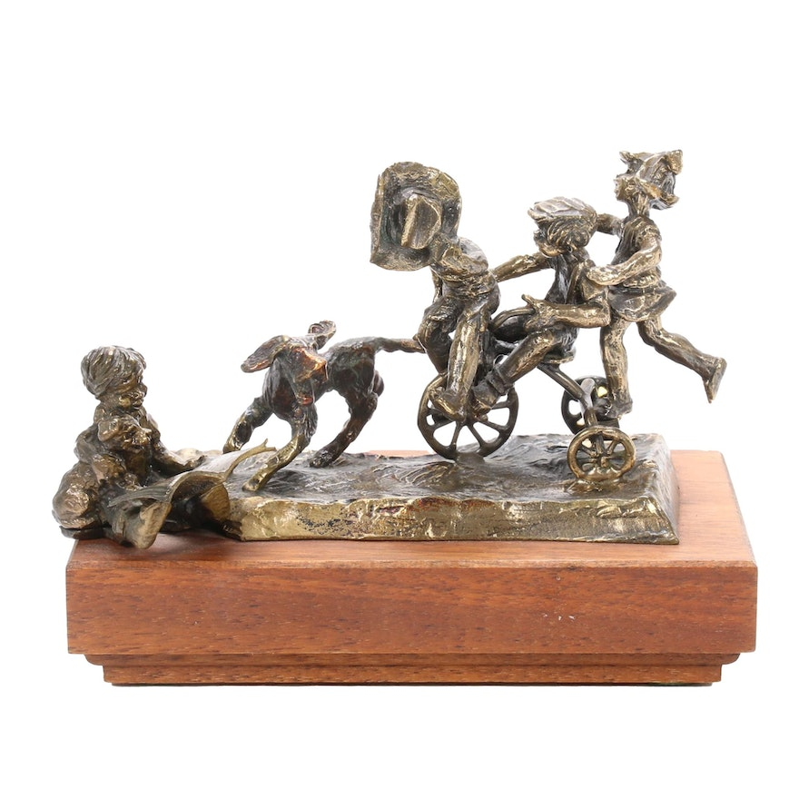 Bronze Sculpture of Children and Dogs, 1970