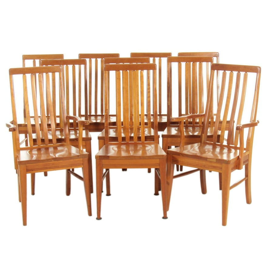 Ten Contemporary Shaker Style Maple Dining Chairs