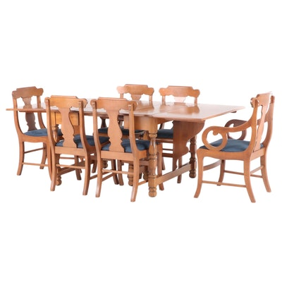 Willett Maple Veneer Dining Set with Leaf Insert, Early to Mid-20th Century