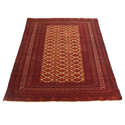 4'2 x 5'8 Hand-Knotted Persian Turkoman Rug, 1970s