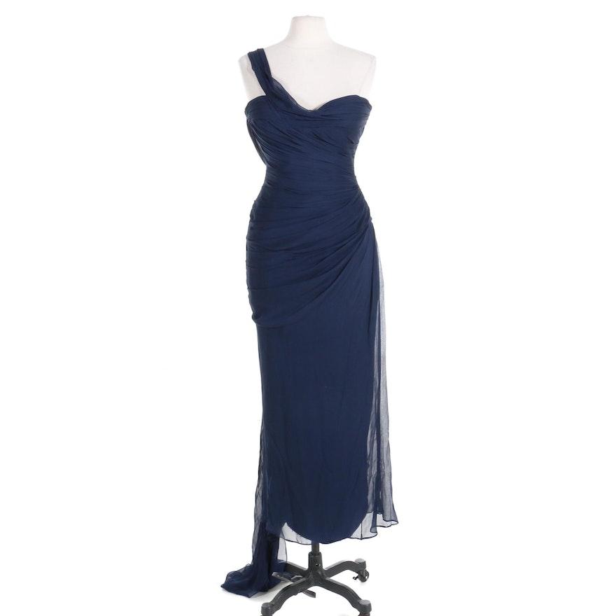 Romona Keveza Pleated Silk One-Shoulder Bodycon Maxi Dress with Train