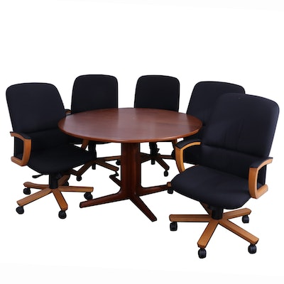 "Danish Modern Teak Expandable Pedestal Table with Kimball  ""Triumph"" Desk Chairs"