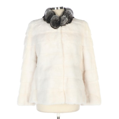 White Female Mink Fur Jacket with Natural Chinchilla Fur Trim