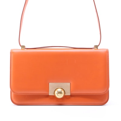 Bottega Veneta BV Classic Shoulder Bag in Orange Calfskin Leather