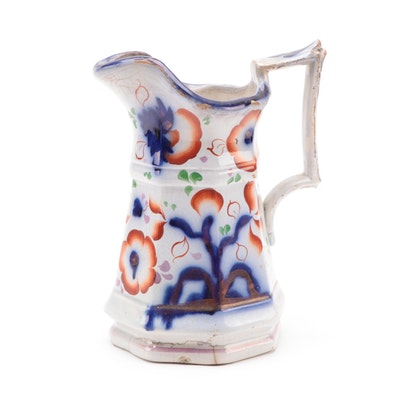 Gaudy Welsh Hand-Painted Ironstone Pitcher, Early to Mid 19th Century