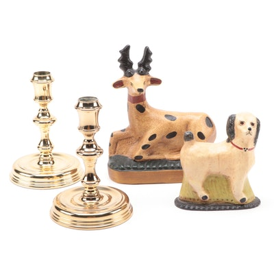 Baldwin Brass Candlesticks and Ceramic Animal Figurines, Late 20th Century