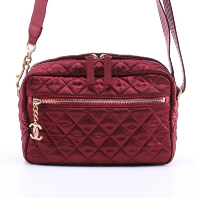 Chanel Quilted Crimson Satin Shoulder Bag with Crystal Embellished Hardware
