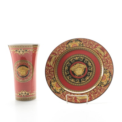 "Versace for Rosenthal ""Medusa"" Porcelain Charger and Vase"