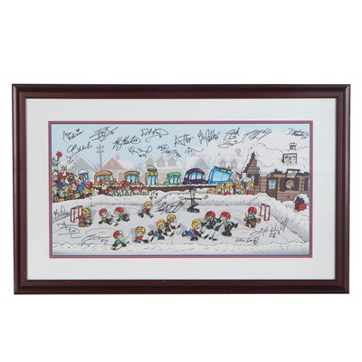 Offset Lithograph of Hockey Scene with 2006 Columbus Blue Jackets Autographs