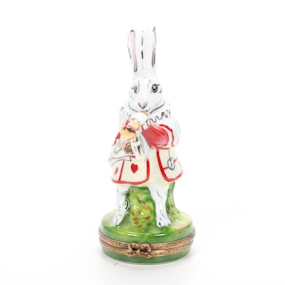 "Rochard Alice in Wonderland ""White Rabbit"" Limoges Trinket Box"