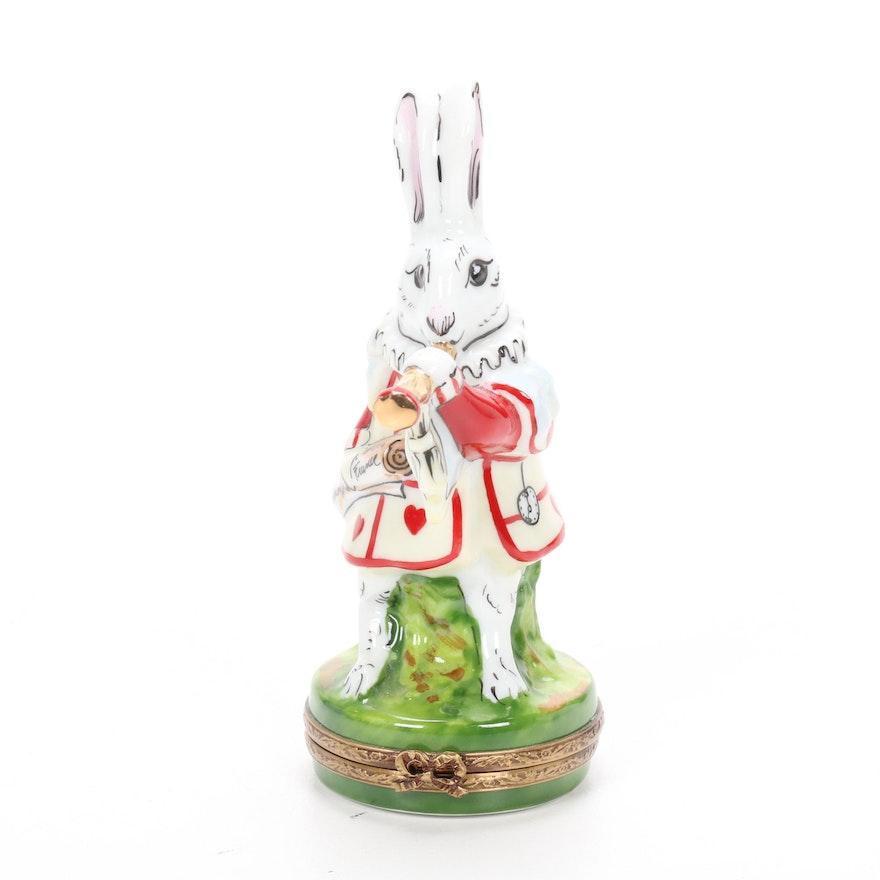 "Rochard Alice in Wonderland ""White Rabbit"" Limoges Trinket Box"