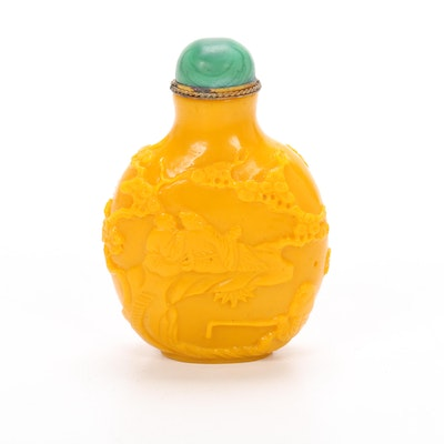 Chinese Carved Yellow Peking Glass Snuff Bottle with Malachite Stopper