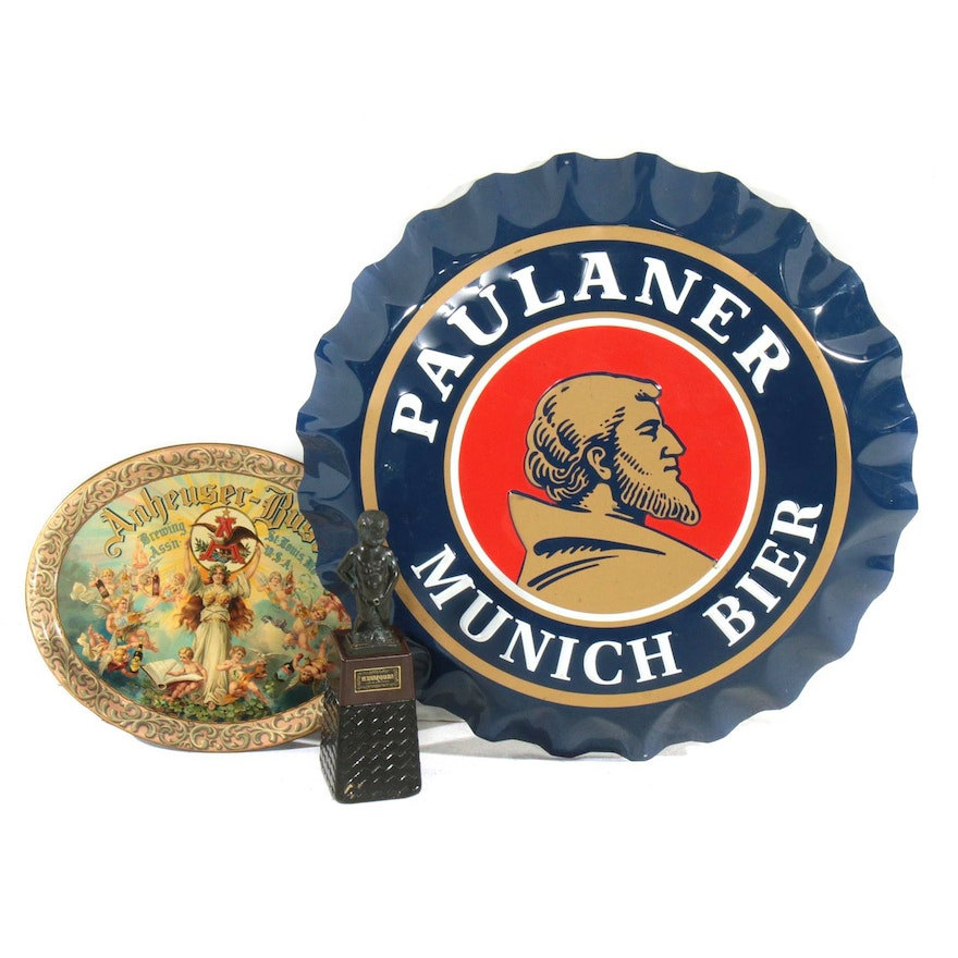 Anheuser-Busch Tray, Mannequan Liquor Dispenser and Paulaner Munich Bier Sign