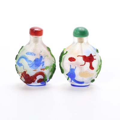 Chinese Glass Dragon Motif Snuff Bottles with Agate and Malachite Stoppers