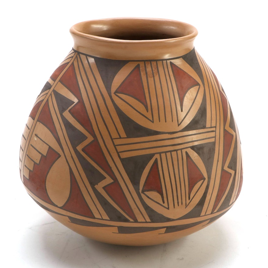 Julio Silbeira Polychrome Burnished Clay Olla