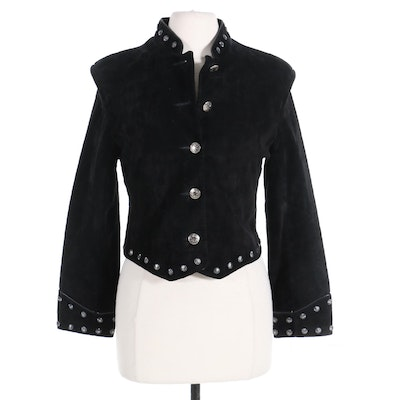 Scully Nailhead Trimmed Black Suede Jacket