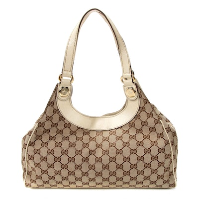 Gucci Shoulder Bag in GG Canvas and Off-White Leather