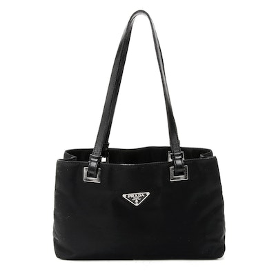 Prada Shoulder Bag in Black Tessuto Nylon and Leather