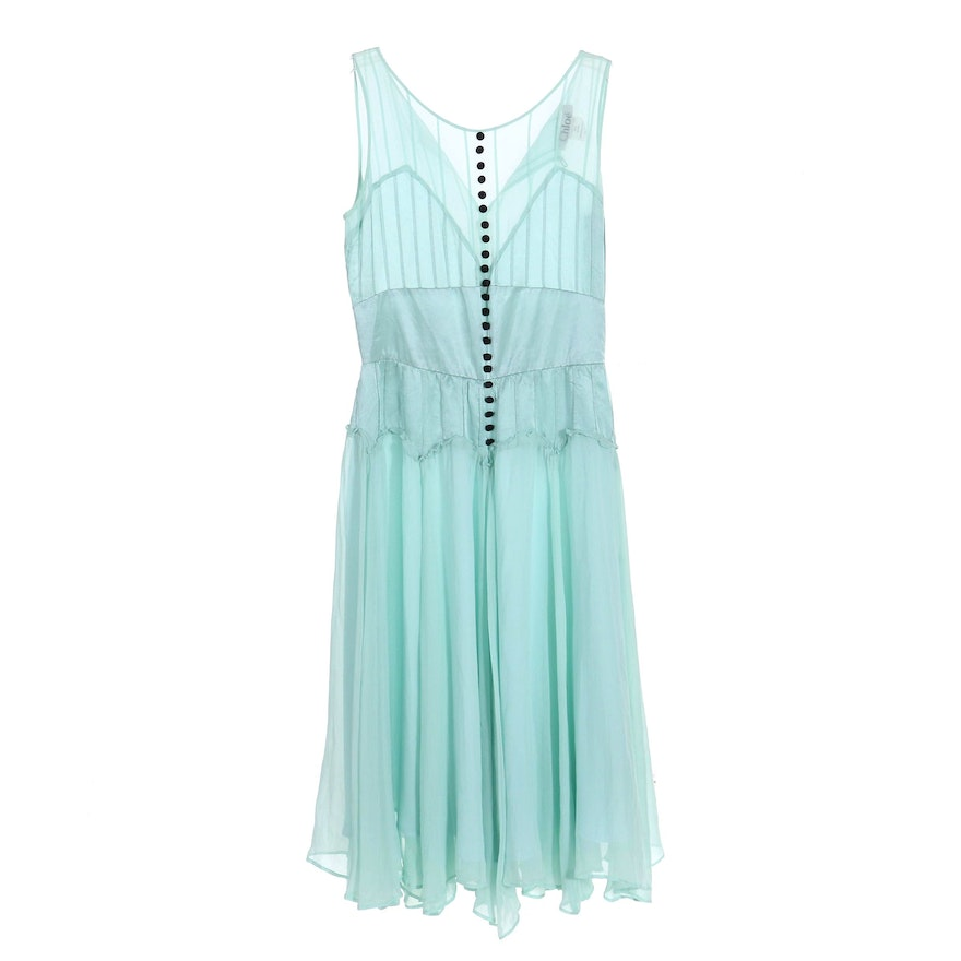 Chloé Silk Sleeveless Fit and Flare Dress in Aqua Blue with Black Buttons