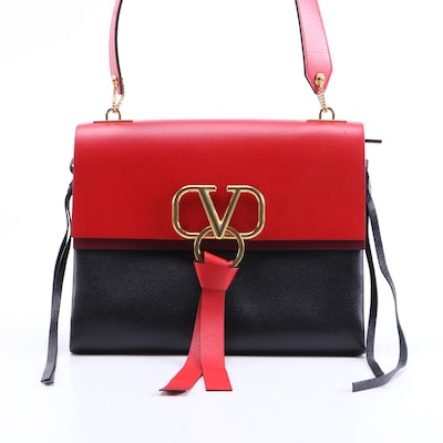 Valentino V-Ring Shoulder Bag in Red, Burgundy and Black Calfskin