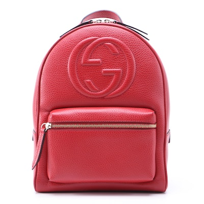 Gucci Soho Chain Backpack in Red Pebbled Leather