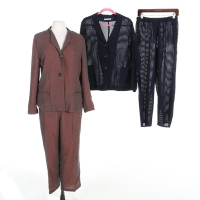 René Lezard for Bergdorf Goodman Light Wool Pantsuit and Pajama Set