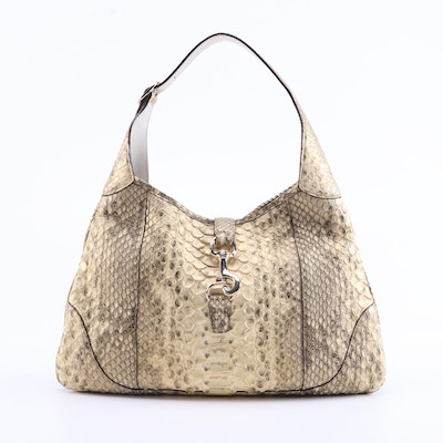 Gucci Jackie O Bouvier MM Hobo Bag in Light Metallic Dyed Python and Leather