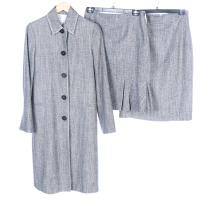 Carolina Herrera Grey Tweed Skirt Suit with Dual Skirt Options